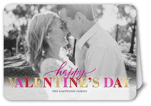Colorful Affection Valentine's Card, Rounded Corners