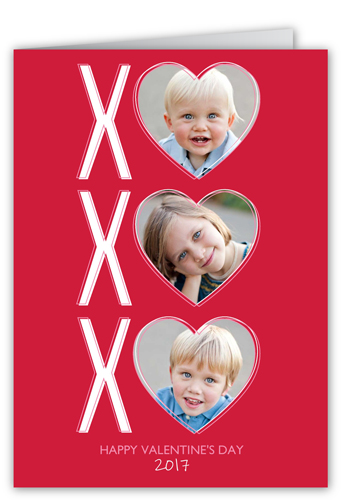 XO Hearts Valentine's Card, Square Corners