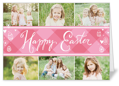 Preppy Collage Easter Card, Square Corners