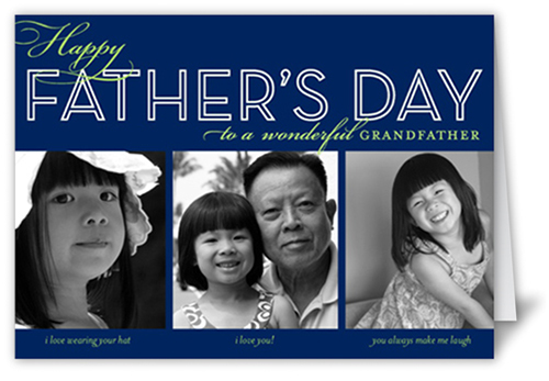 Dad Collage Navy Father's Day Card, Square Corners
