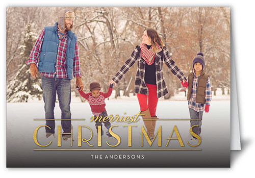 Merriest Gilded Season Christmas Card, Square Corners