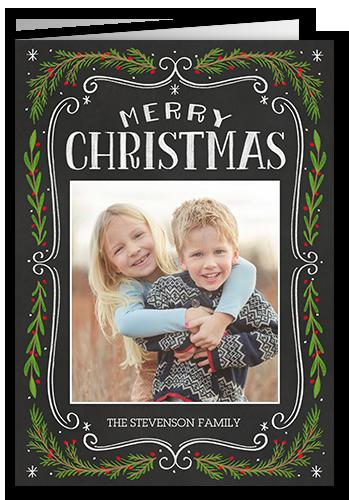 Chalkboard Swirled Frame Christmas Card, Rounded Corners