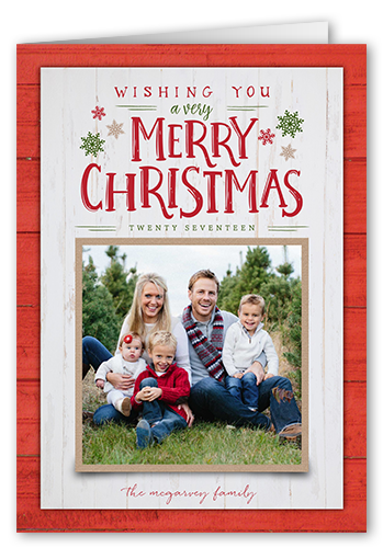 Wooden Seasonal Wishes Christmas Card, Square