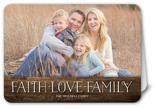 Faith And Love Banner Religious Christmas Card, Rounded Corners