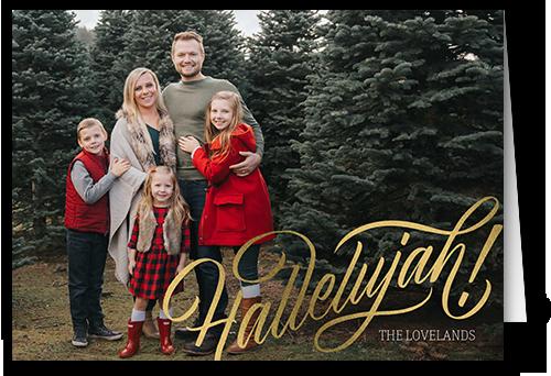 Hallelujah Religious Christmas Card, Square Corners