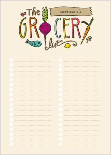 The Grocery List 5x7 Notepad