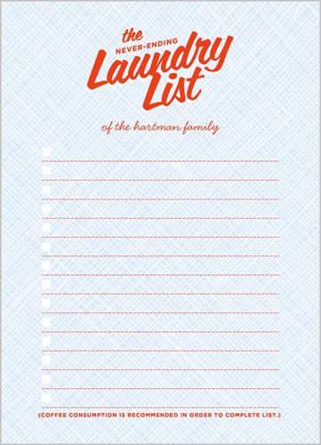 The Laundry List 5x7 Notepad
