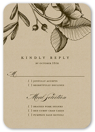 Rustic And Floral Wedding Response Card, Rounded Corners