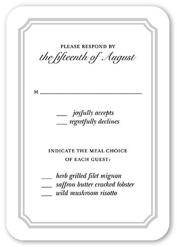 Glistening Ceremony Wedding Response Card, Rounded Corners