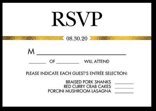 Golden Band Wedding Response Card, Square Corners