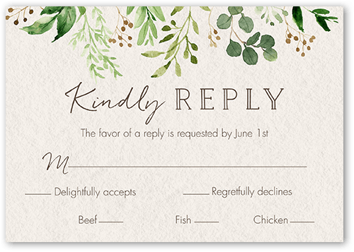 Botanical Union Wedding Response Card Shutterfly