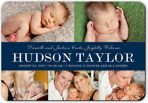 Simple Banner Boy Birth Announcement, Rounded Corners