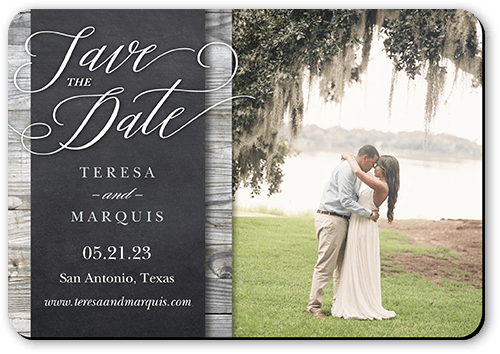 Wood Frame Save The Date, Rounded Corners