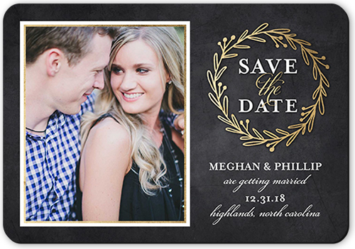 Weathered Wreath Save The Date, Rounded Corners