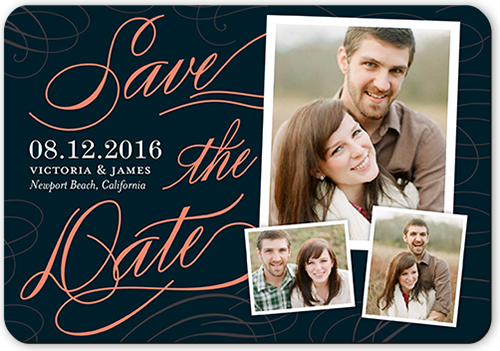 Flourished Date Save The Date, Rounded Corners