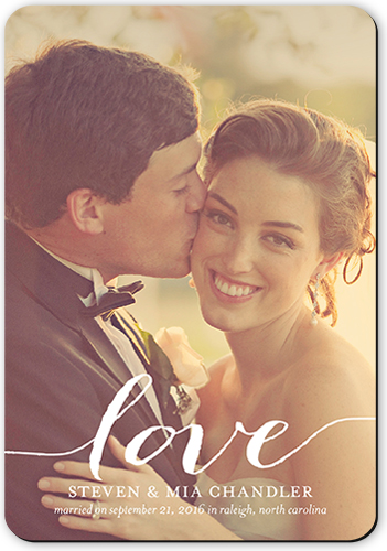 Love You Wedding Announcement, Rounded Corners