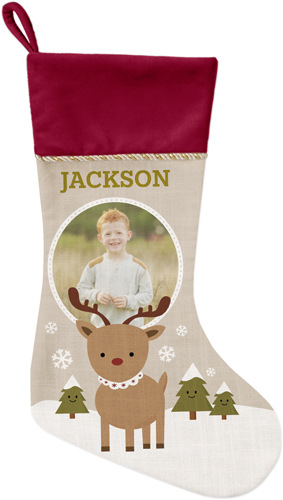 My Reindeer Christmas Stocking, Cranberry, Beige