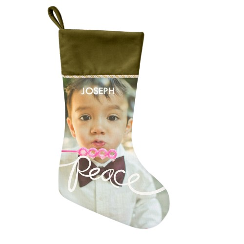 Spreading Peace Christmas Stocking, Moss Green, White