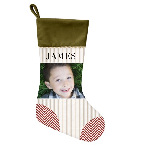 Photo Stripes and Chevrons Christmas Stocking, Moss Green, Beige