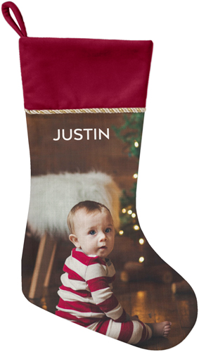 Photo Gallery Christmas Stocking, Cranberry, Multicolor