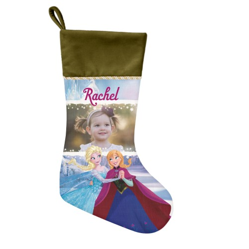 Disney Frozen Anna And Elsa Christmas Stocking, Moss Green, Blue