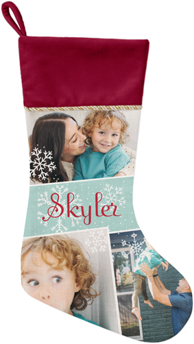 Snowflake Collage Christmas Stocking, Cranberry, Blue