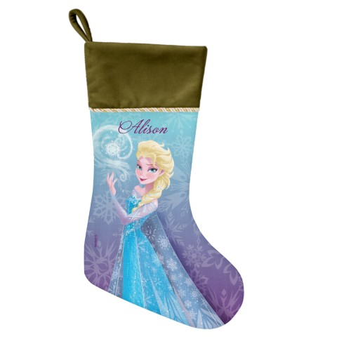Disney Frozen Elsa Snowflake Christmas Stocking, Moss Green, Purple