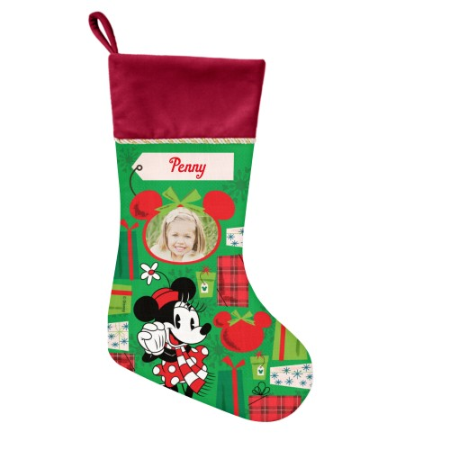 Disney Minnie Mouse Gifts Christmas Stocking, Cranberry, Green