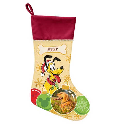 Disney Pluto Ornament Christmas Stocking, Cranberry, Yellow