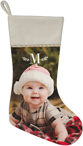 Keyline Monogram Christmas Stocking, Natural, White