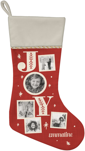 Joy Christmas Stocking, Natural, Red