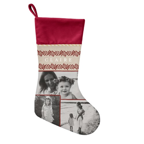Foliage Border Christmas Stocking, Cranberry, Beige