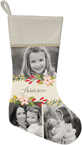 Floral Frame Christmas Stocking, Natural, White