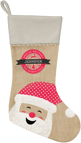 Merry Santa Christmas Stocking, Natural, Brown