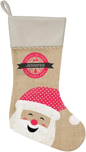 Merry Santa Christmas Stocking, Natural, Brown