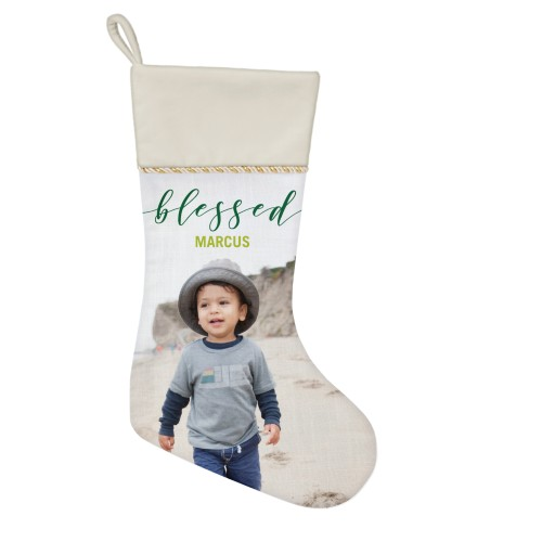 Blessed Script Christmas Stocking, Natural, Green