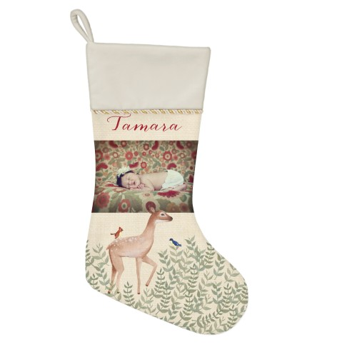 Whimsy Deer Picture Christmas Stocking, Natural, Beige