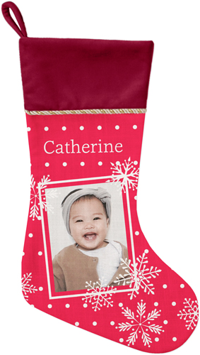 Snowflake Framed Christmas Stocking, Cranberry, Red