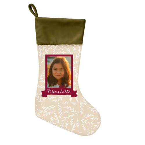 Foliage Banner Christmas Stocking, Moss Green, Red