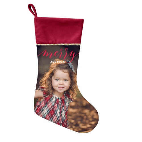 Merry Script Christmas Stocking, Cranberry, Red