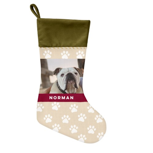 Paw Print Christmas Stocking, Moss Green, Beige