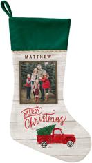 holiday vintage truck christmas stocking
