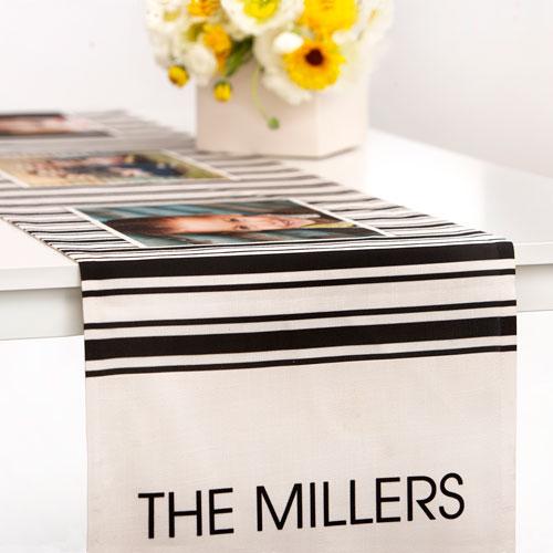 Ticking Stripes Table Runner, 90 x 14, Black