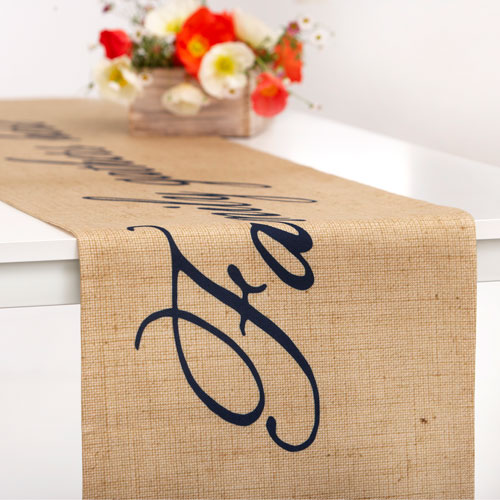 Simple Script Table Runner, 108 x 16, Beige