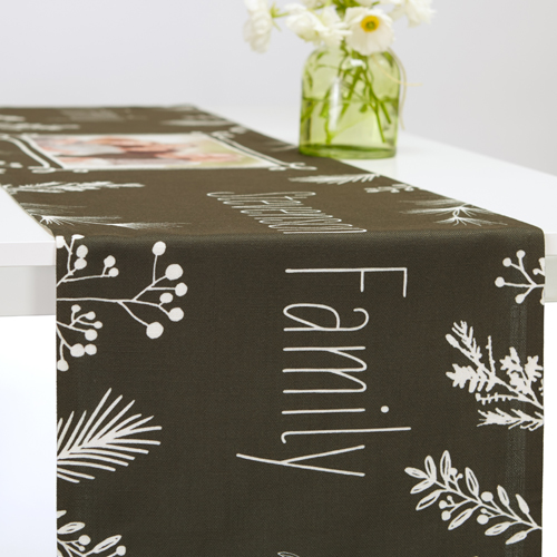 Holiday Chalk Table Runner, 108 x 16, Black