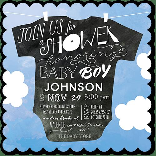 Onesie Whimsy Boy Baby Shower Invitation, Scallop Corners