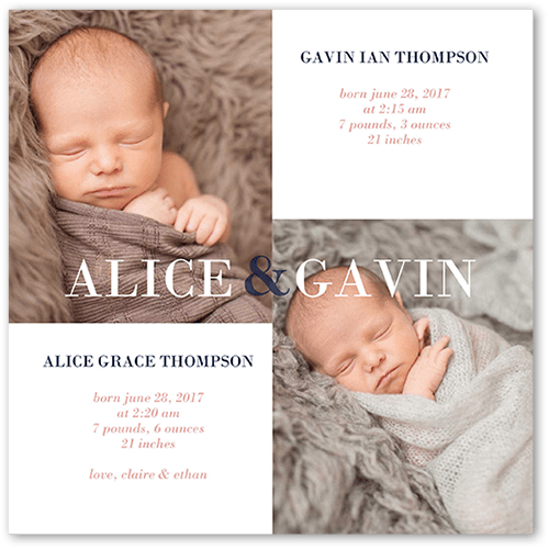 Simply Twins Birth Announcement, Square Corners