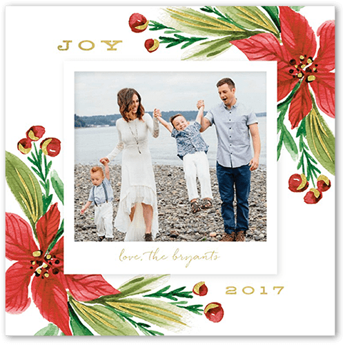 Poised Poinsettia Holiday Card, Square