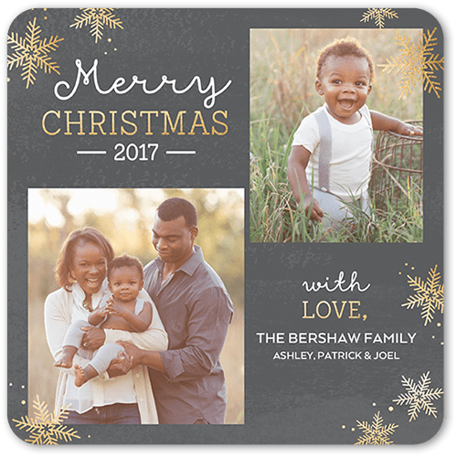 Snowy Festivity Holiday Card, Rounded Corners