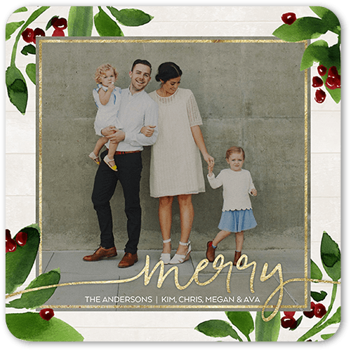 Jubilant Berries Holiday Card, Rounded Corners